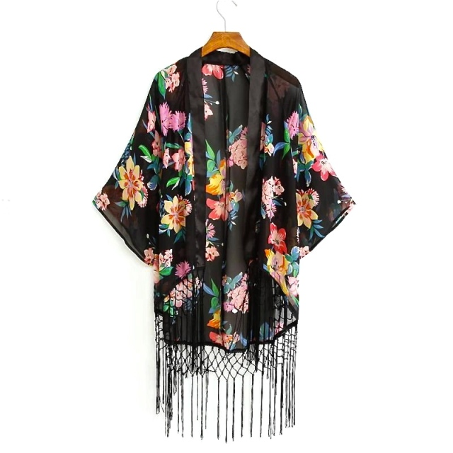 Cara Collection Beauty Floral Tassel Kimono front