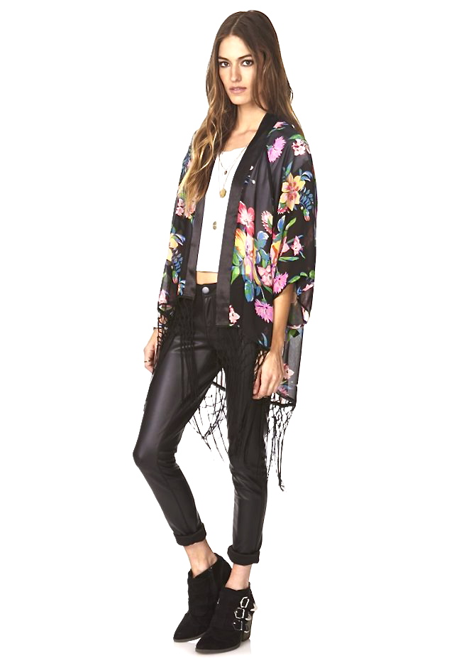 Cara Collection Beauty Floral Tassel Kimono model