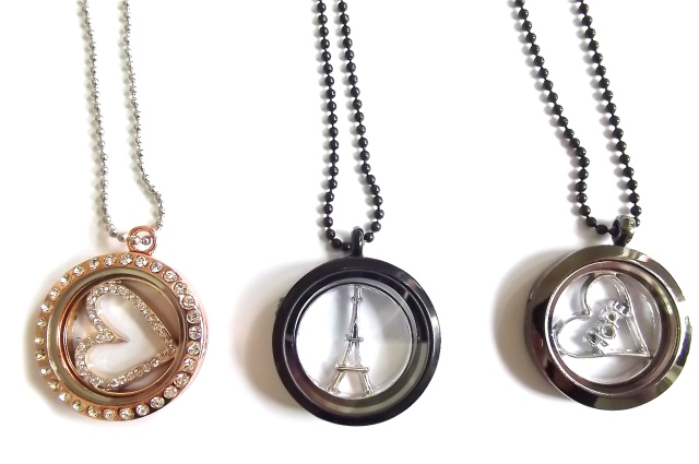 Cara Collection Floating Memory Locket Pendants Necklaces charmsx3